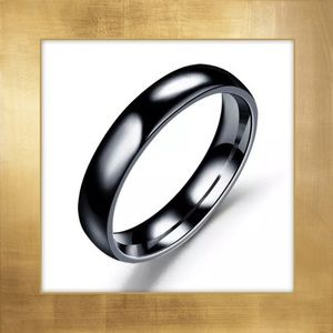 Stainless Steel Band, Polished, Black, 4mm